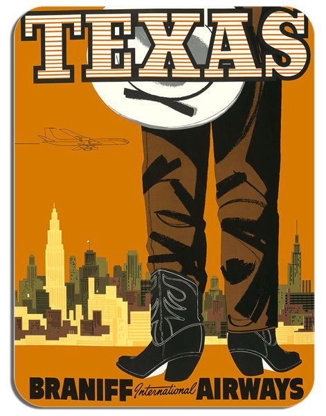 Vintage Texas Braniff Airways Travel Poster Mouse Mat Tourism Mouse Pad Gift