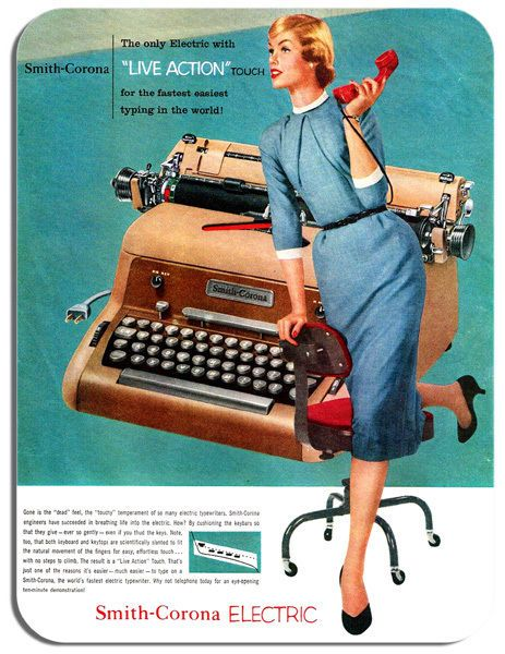 Vintage Typewriter Advert Mouse Mat. 50s 60s Typing Advertising Mouse Pad