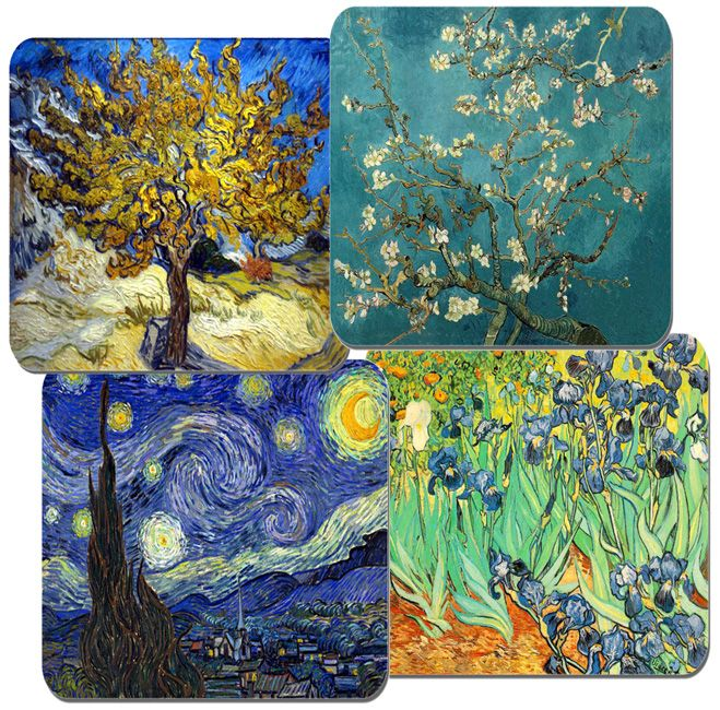 Vintage Vincent Van Gogh Coasters Set Of 4  High Quality Cork Backed Almond Tree