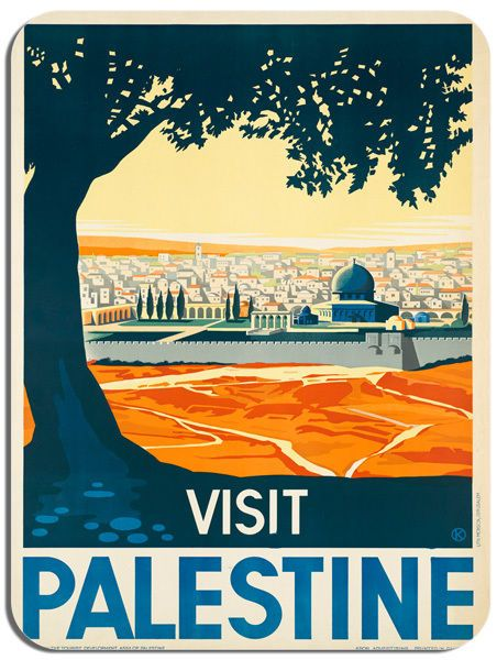 Visit Palestine Vintage Travel Advert Mouse Mat. Tourist Poster Mouse Pad Gift