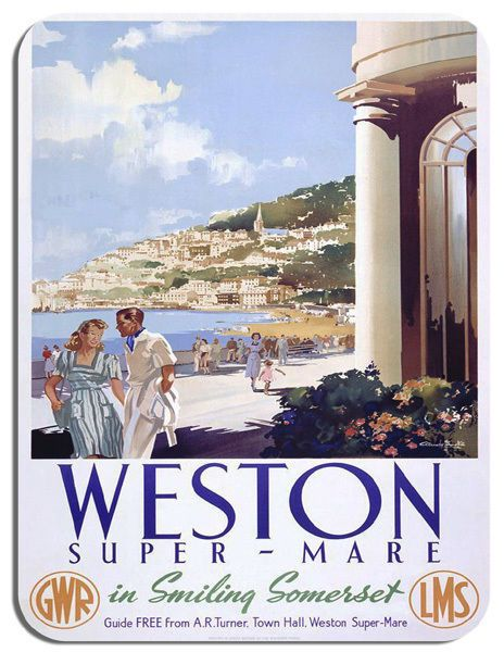 Weston Super Mare Vintage Railway Poster Mouse Mat. Train Travel Mouse Pad Gift
