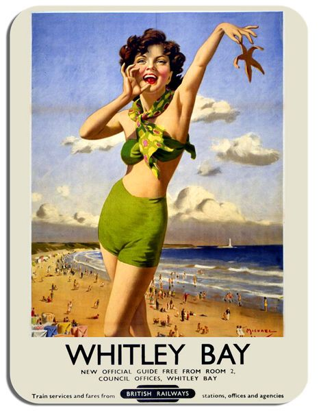 Whitley Bay Vintage Railway Poster Mouse Mat. Train Railway Ad Mouse Pad