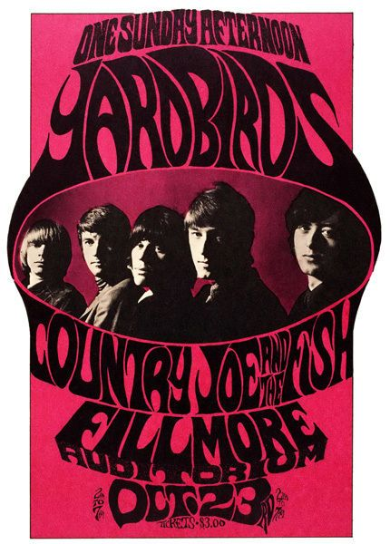 Yardbirds & Country Joe and the Fish Poster T-Shirt Gents, Ladies & Kids Sizes